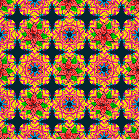 superlative: Vector sketch of colored mehndi mandala on. Traditional indian style, ornamental floral elements for henna tattoo, colored stickers, flash temporary tattoo, mehndi and yoga design, cards and prints.