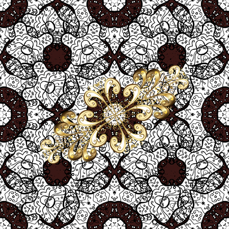 Brown on background. Oriental classic golden pattern. Vector abstract background with repeating elements.