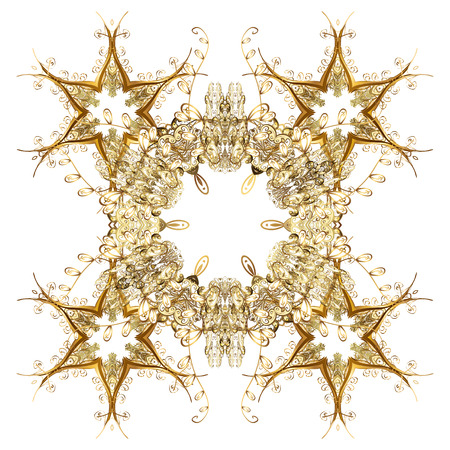 freeze: Handmade drawing. For the Christmas design and decoration. Vector with golden snowflakes, doodles and dots on white background. Watercolor painting effect.