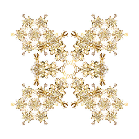 Snowflake frame. Christmas frame with abstract golden snowflakes and dots on white background. Vector illustration.