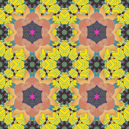 Seamless exotic pattern with many pink tropical flowers. Blooming jungle. Motley vector illustration. Illustration