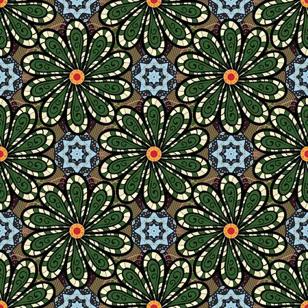 Glod の色で幾何学的な円の要素。イスラム教の精神的な儀式のシンボル アラビア語、インドの宗教。背景にマンダラ。ベクター飾りパターン ラウン