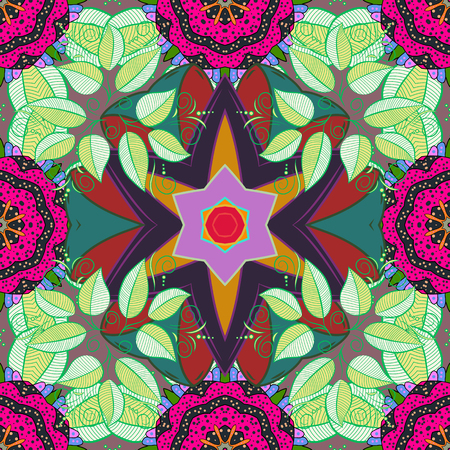 Mandala on magenta background. Vector Round Ornament Pattern. Geometric circle element in glod colors. Spiritual and ritual symbol of Islam, Arabic, Indian religions.