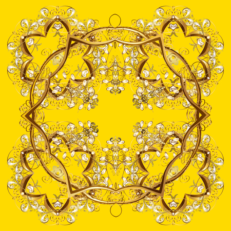 cushy: Snowflake vector design on yellow background. Snow flakes background.