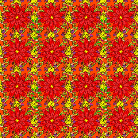 admirable: Vector seamless colorful floral pattern. Hand drawn floral texture, decorative flowers. Illustration