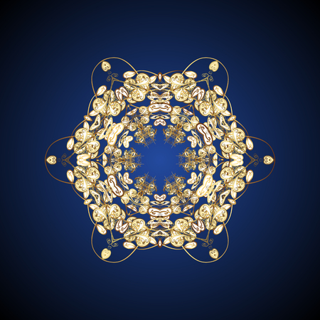 Christmas Stylized Golden snowflakes on a colorfil background. Repeating Pattern. Vector design. Illustration