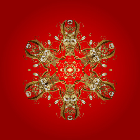 isles: Starry Sky. Falling snow. Texture with stylized golden snowflakes and dots on a red background. Illustration
