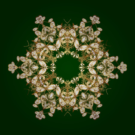 On green background. Vector golden snowflakes winter New Year frame.