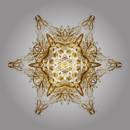 Of stylized gold snowflakes and dots on white background. Vector abstract design.