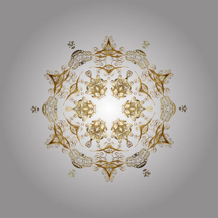 spellbinding: Flat design with abstract snowflakes isolated on white background. Vector snowflakes background. Snowflakes pattern. Golden snowflake.