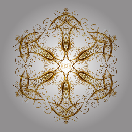 spellbinding: Winter background with golden snowflakes and dots. Vector on white background. Illustration