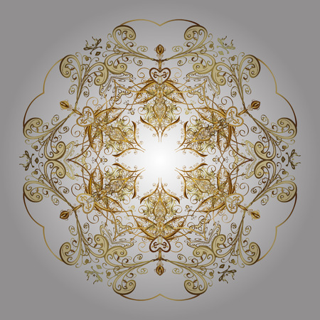 snowing: Merry Christmas, New Year and Happy Holiday vector illustration. Christmas card with gold snowflakes design on white background. Winter card.