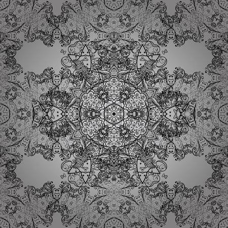 foliate: Dim element on gray background. Dim floral ornament in baroque style. Damask seamless repeating pattern. Antique dimen repeatable sketch.