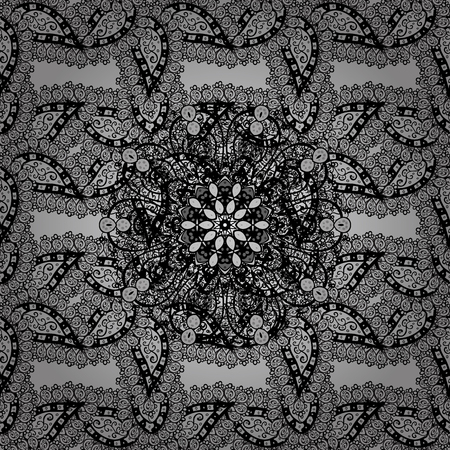 gentle: Vector traditional classic dim seamless pattern on gray background. Seamless oriental ornament in the style of baroque.