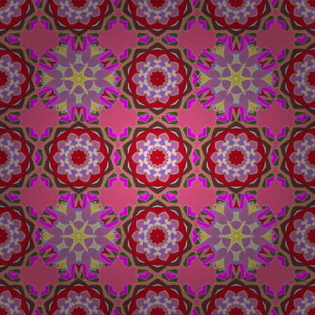 ethno: Vector illustration with many flowers. Trendy seamless floral pattern.
