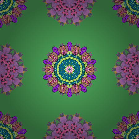 Vector ornate zentangle seamless texture, pattern with abstract floral mandalas on background. Can be used for sketch, web page. Summer seamless pattern with stylized flowers.