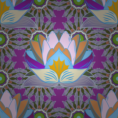 Exotic pattern with many tropical flowers Illustration