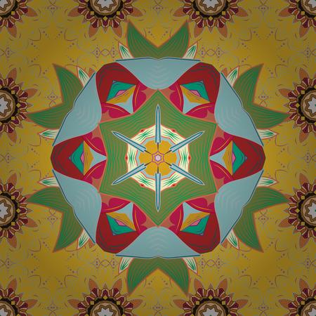Invitation card. Vector vintage pattern. Mandala colored on a blue background. Illusztráció