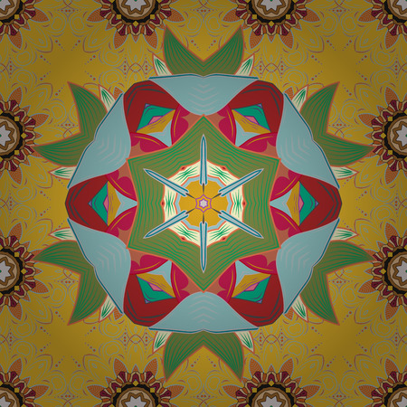 Invitation card. Vector vintage pattern. Mandala colored on a blue background. Stock Illustratie