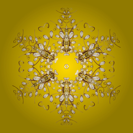 cushy: Flat design with abstract snowflakes isolated on yellow background. Snowflakes pattern. Golden snowflake. Vector snowflakes background.