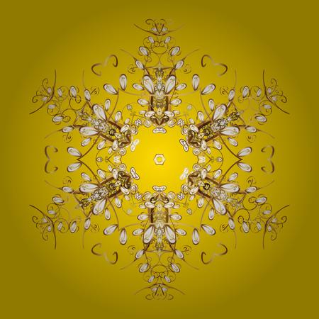 Platte ontwerp met abstracte sneeuwvlokken geïsoleerd op gele achtergrond. Sneeuwvlokken patroon. Gouden sneeuwvlok. Vector sneeuwvlokken achtergrond.