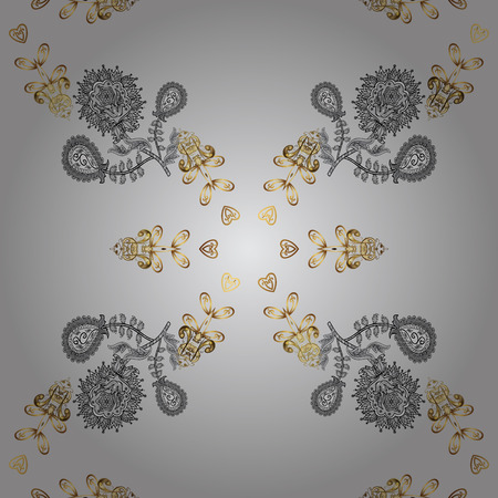 Gray background with golden elements. Vector illustration. Oriental style arabesques. Vector golden pattern. Seamless golden textured curls.