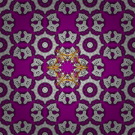 Vector traditional orient ornament. Golden pattern on magenta background with golden elements. Seamless classic golden pattern.