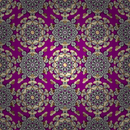 Magenta and golden pattern. Elegant vector classic pattern. Seamless abstract background with repeating elements.