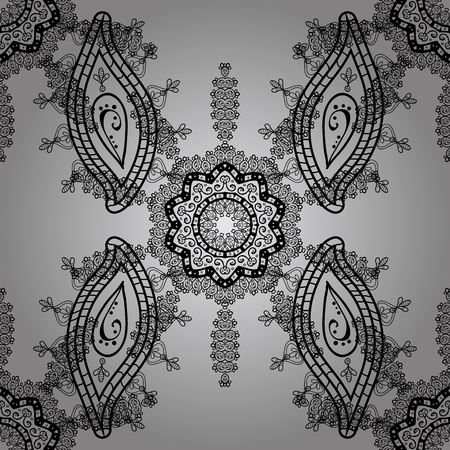 gentle: Vector traditional orient ornament. White pattern on gray background with white elements. Seamless classic white pattern.