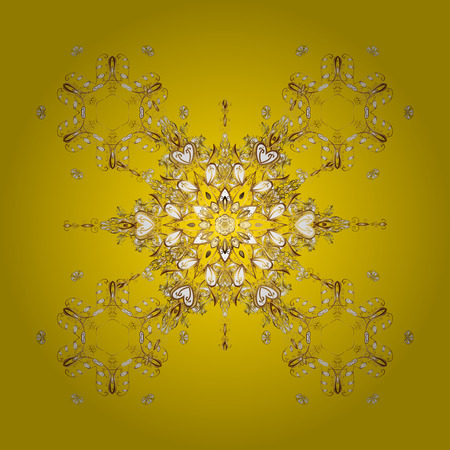 cushy: Vector golden snowflakes and christmas winter pattern. Digital hand drawn of element in the clean, whimsical and modern surface pattern on yellow background.