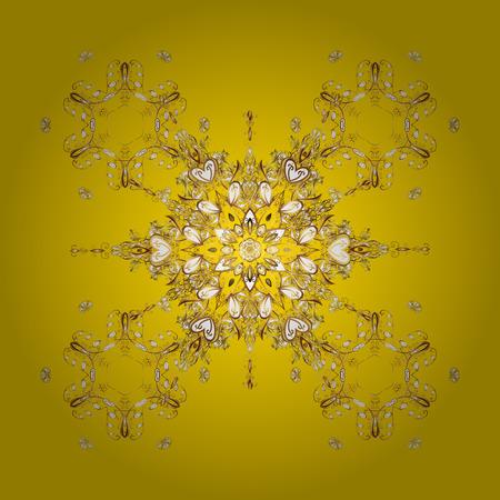 Vector gouden sneeuwvlokken en Kerstmis de winterpatroon. Digitale die hand van element in het schone, capricieuze en moderne oppervlaktepatroon wordt getrokken op gele achtergrond. Stock Illustratie