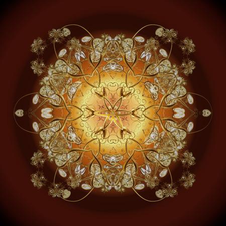 Nieuwe jaar 2018 gouden sneeuwvlok op kleurrijke achtergrond. Schattig abstract sneeuwvlokken vector patroon. Platte sneeuw doodle pictogrammen, sneeuwvlokken silhouet voor kerst banner, kaarten. Stock Illustratie
