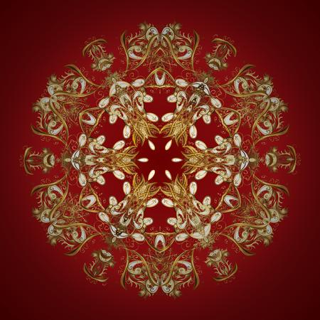 Mano digital dibujada de elemento en el patrón de superficie limpia, caprichosa y moderna en colores de fondo. Vector oro copos de nieve y el patrón de invierno de Navidad. Ilustración de vector
