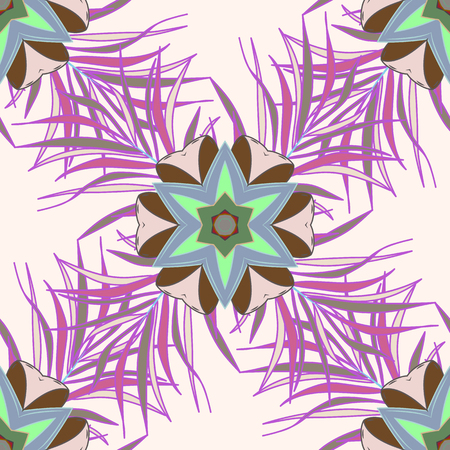 twee: Seamless pattern with flowers on motley background. Vector illustration of pink flowers.