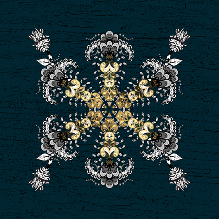 Decorative symmetry arabesque. Vector illustration. Gold on blue background. Good for greeting card for birthday, invitation or banner. Medieval floral royal pattern.