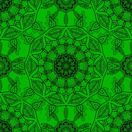 벡터 만다라입니다. 녹색 배경에 색깔 된 장식 패턴 라운드.