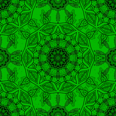 Vector Mandala. Colored round ornament pattern on a green background. Çizim
