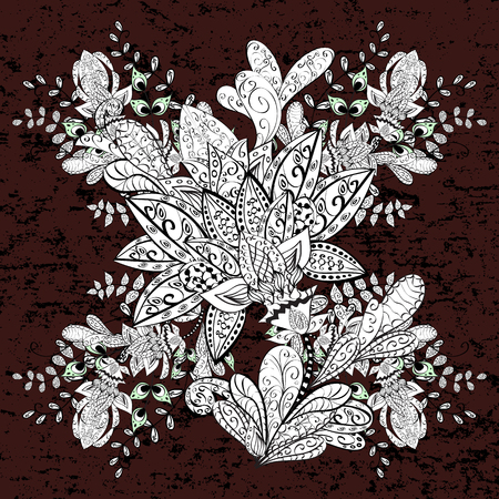 slanting: White brown and white floral ornament in baroque style. Element on brown and white background. Sketch on texture pattern. Damask repeating pattern. Illustration