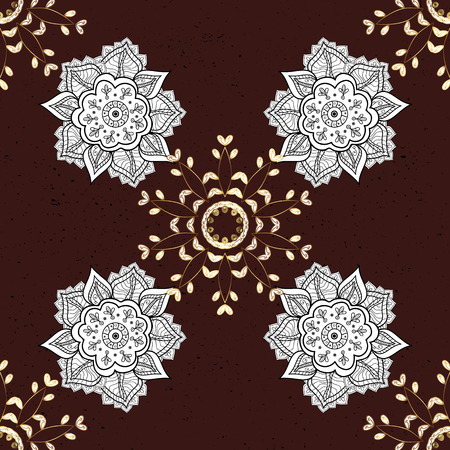 intertwined: Oriental vector classic brown and golden pattern. Abstract background.