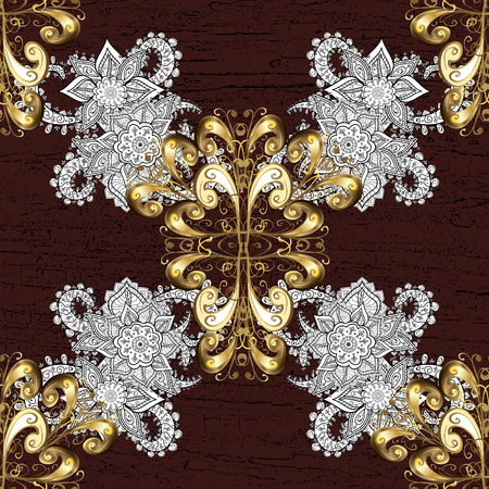 Vector golden pattern on brown background with golden elements.