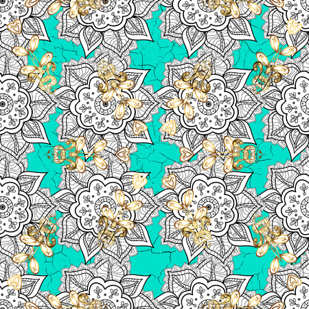 Classic vintage background. Pattern on blue background with golden elements. Classic vector golden pattern.