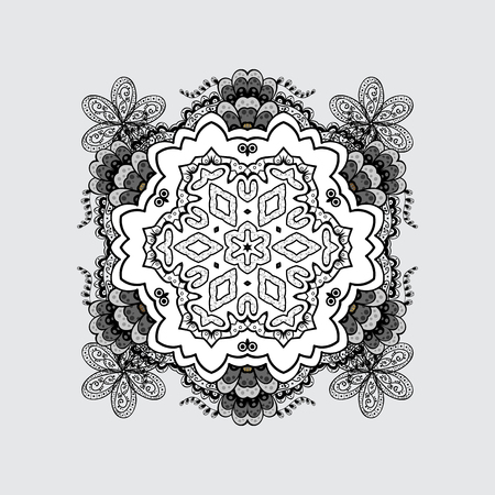 Openwork delicate pattern. Texture curls. On gray and light background with doodles elements. Mandalas lace, stylized flowers, paisley. Vector oriental style arabesques.