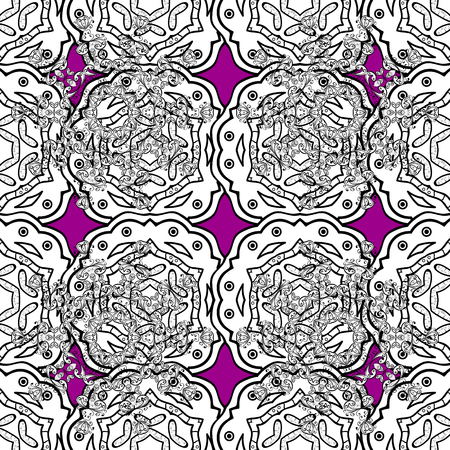 Vector seamless pattern with floral ornament. Traditional arabic decor on magenta background. Ornamental lace tracery.