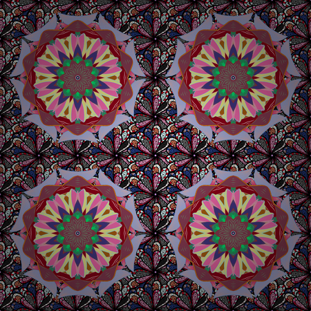 Ornate, eastern mandala with colored contour. Art, round, colorful ornament on a background.