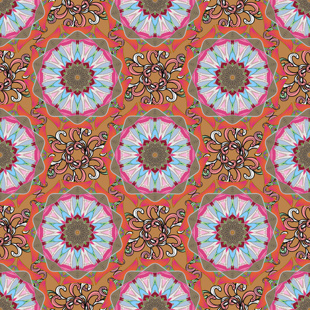 Boho abstract seamless pattern. Unusual vector ornament decoration. Colorful colored tile mandala on a background. Intricate floral design element for sketch, gift paper, fabric print, furniture. Illustration
