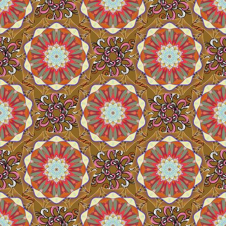 Background. Vector ethnic mandalas, doodle background circles.