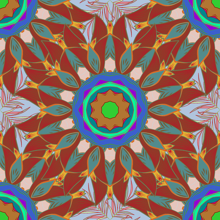 five star: Colorful colored tile mandala on a background. Intricate floral design element for sketch, gift paper, fabric print, furniture. Boho abstract seamless pattern. Unusual vector ornament decoration.