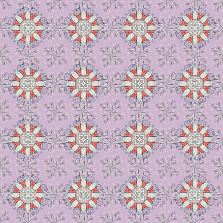 Can be used for sketch, web page. Summer seamless pattern with stylized flowers. Vector ornate seamless texture, pattern with abstract floral mandalas on background.
