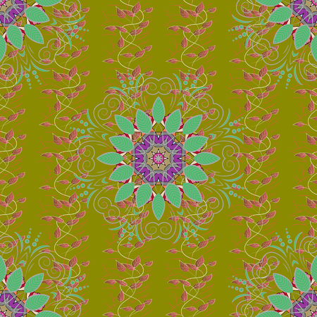 glitzy: Vintage vector floral seamless pattern in colors. Illustration