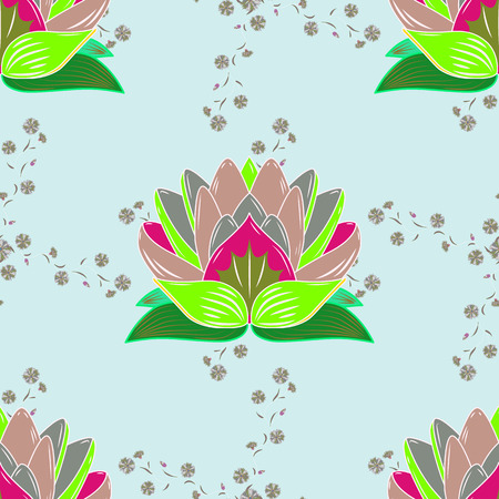 Vector illustration of flowers. Seamless pattern with flowers on motley background. Çizim